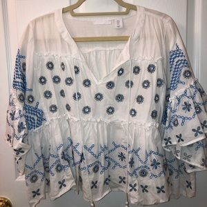White Blouse with Blue Embroidery